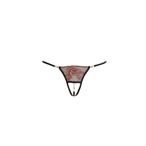 Cottelli Collection String met strassteentjes - Zwart/Rood