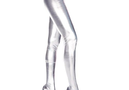 Music Legs Wetlook Metallic Panty - Zilver