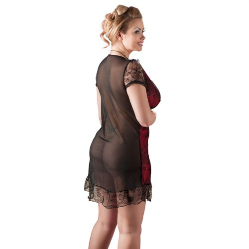 Cottelli Collection Zwart/Rood jurkje transparant