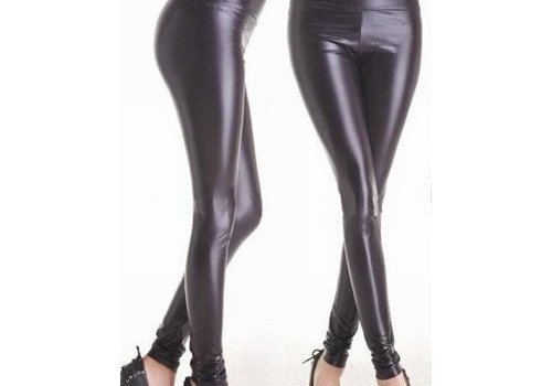 Sexy Kleding Zwarte wetlook Legging