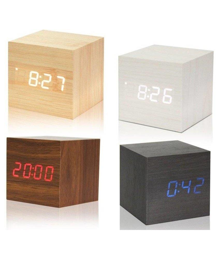 LED Cube Holz Wecker