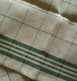 linen tea towel, green chequered