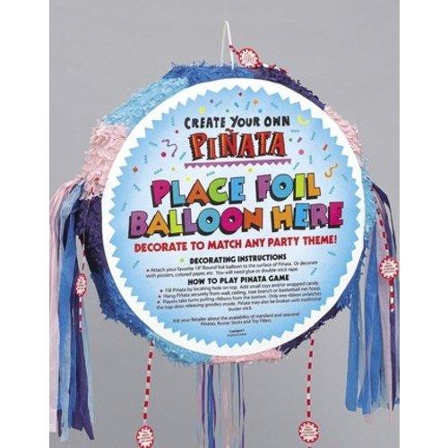 Pinata rond, pastel kleuren, geschikt om een ballon op te plakken