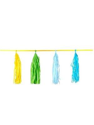 Kwasten slinger groen / blauw / geel / oranje / roze /  rood