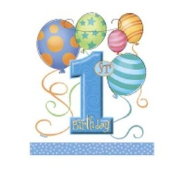 Feestzakjes, 1e verjaardag, blauwe ballonnen