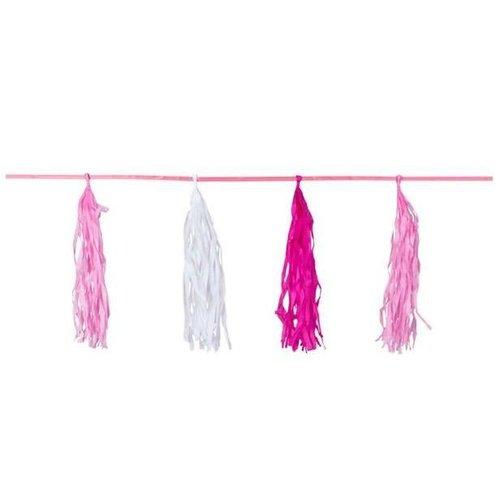 Kwasten slinger roze / baby roze / wit
