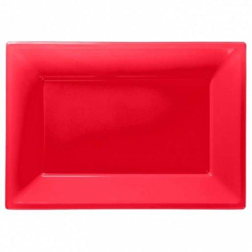 Rechthoekige schalen (3 stuks) Rood