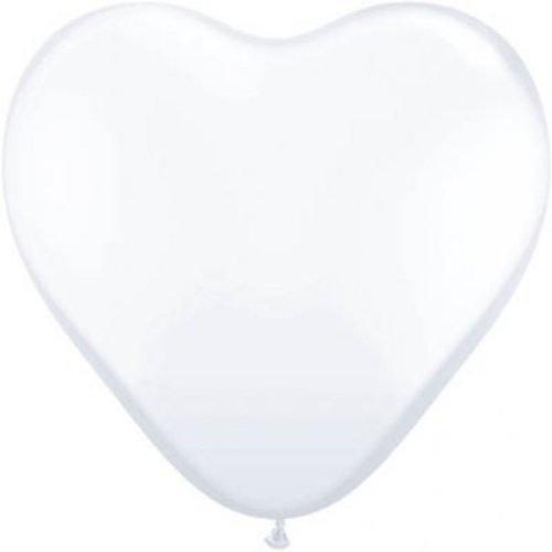 Ballon wit, hart vorm, 8 stuks