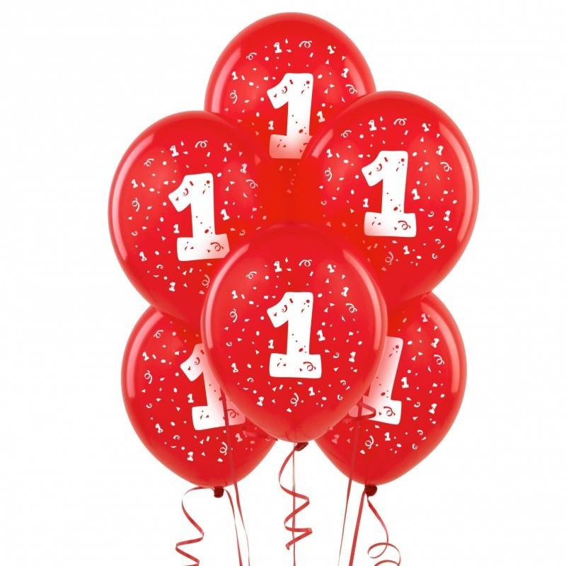 Ballonnen rood 1 jaar