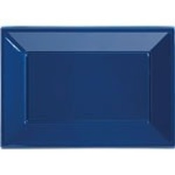 Donkerblauwe rechthoekige catering schalen (3 stuks)