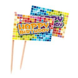 Cocktail prikkers blocks (happy birthday)