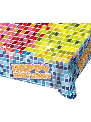 Blocks tafelkleed happy birthday
