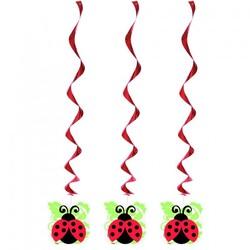 Hangdecoratie, 3 stuk, Lively Ladybug