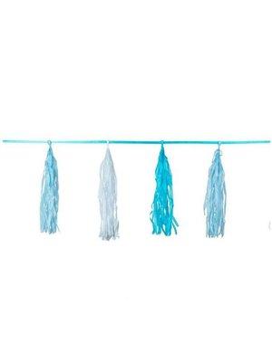 Kwasten slinger blauw / baby blauw / wit