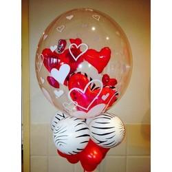 Valentijn ballon met hartjes en zebra ballonnen