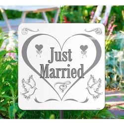 Tuinbord huwelijk: just married