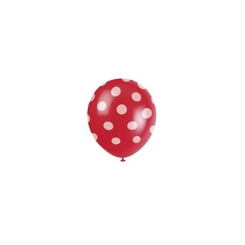 Rode stip ballonnen 6 stuks