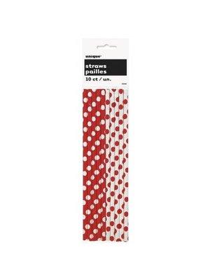 Rode stip Rietjes 10 stuks