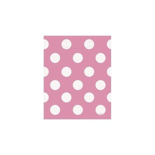 Roze stip uitdeelzakjes 8 stuks