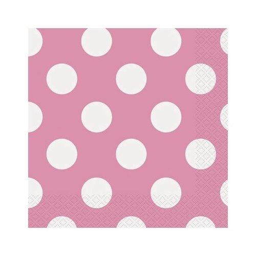 Roze stip Servet 33 cm 16 stuks