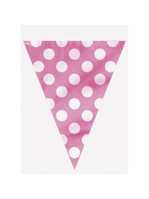 Roze stip vlaggenlijn 360 cm