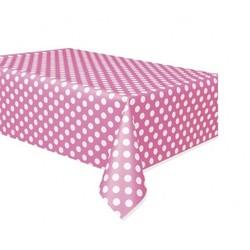 Roze stip tafelkleed 132x274 cm