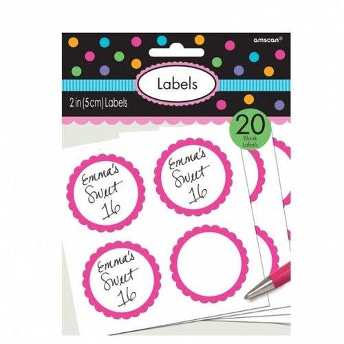 Stickers voor de snoeptafel. (roze)