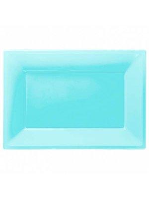 Rechthoekige schalen (3 stuks) turquoise