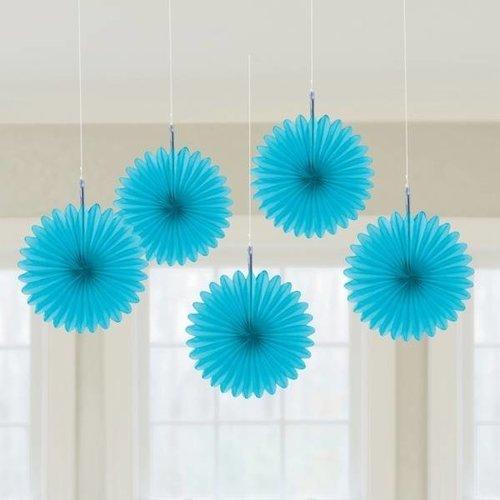 Decoratie waaier turquoise (klein)