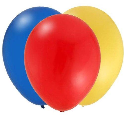 Ballonnen 30x, geel, rood en blauw
