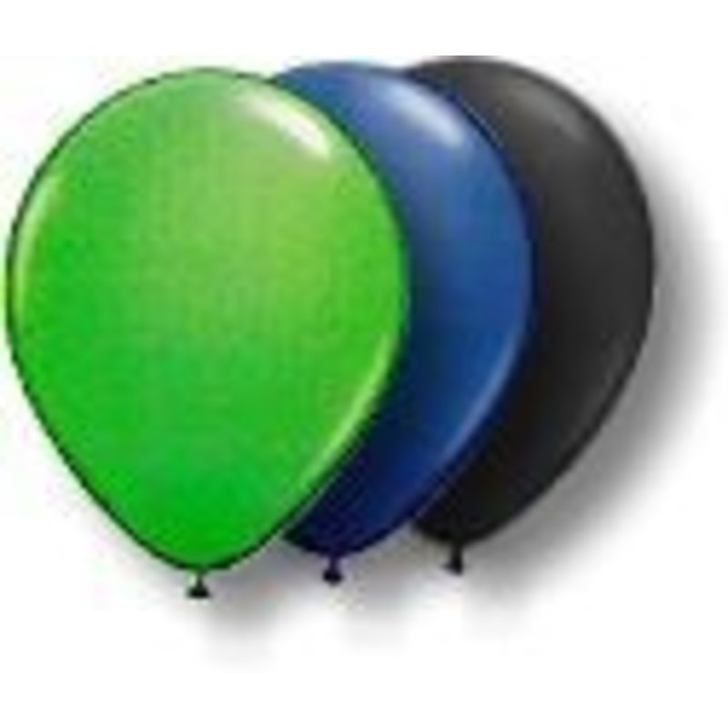 Ballonnen, groen, blauw en zwart 30 stuks