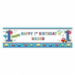Groot spandoek met eigen naam, eerste verjaardag transport
