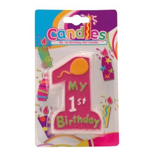 Kaars, 1e verjaardag, roze. Tekst: my 1st birthday