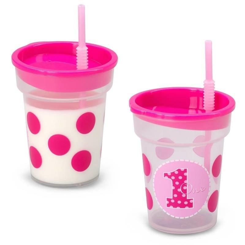 Beker 1e verjaardag meisje (roze met stippen 1 jaar)
