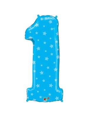 Grote blauwe cijfer 1 folieballon