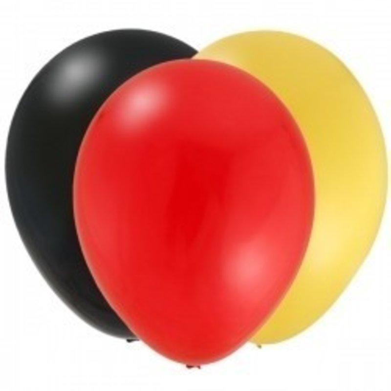 Ballonnen, 3 kleuren (zwart, rood en geel) 30 stuks