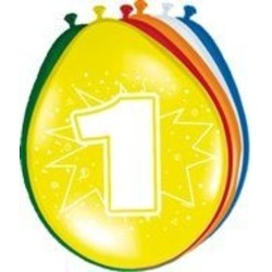 Ballonnen met afdruk: 1 jaar van de serie gekleurde ballonnen