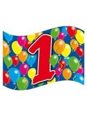 Gevelvlag, 1 jaar met gekleurde ballonnen