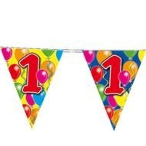 Vlaggenlijn, 1e verjaardag met gekleurde ballonnnen