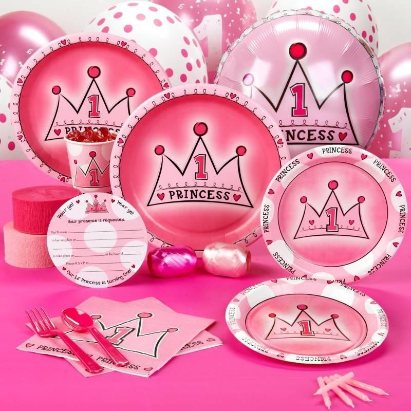 1e verjaardag Princess, compleet feestpakket voor 8 personen.