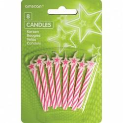 Roze verjaardags kaarsjes met ster (8 stuks)