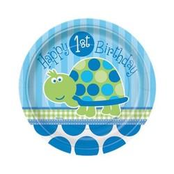 Gebaksbordjes 8x, 1e verjaardag schildpad