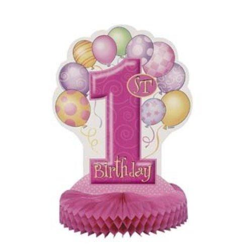 Decoratie, 1e verjaardag, roze ballonnen, 35,5 cm