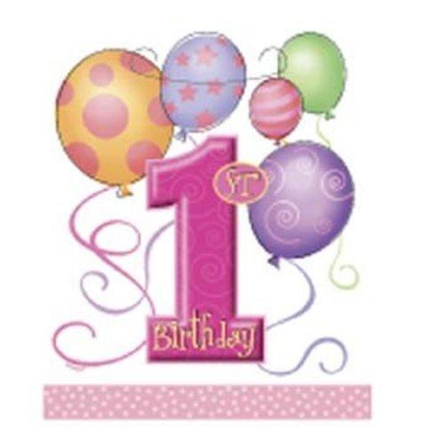 Feestzakjes, 1e verjaardag, roze ballonnen