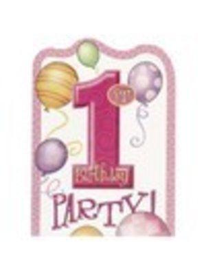Uitnodiging, 1e verjaardag, roze ballonnen