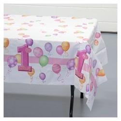 Tafelkleed, 1e verjaardag, roze ballonnen