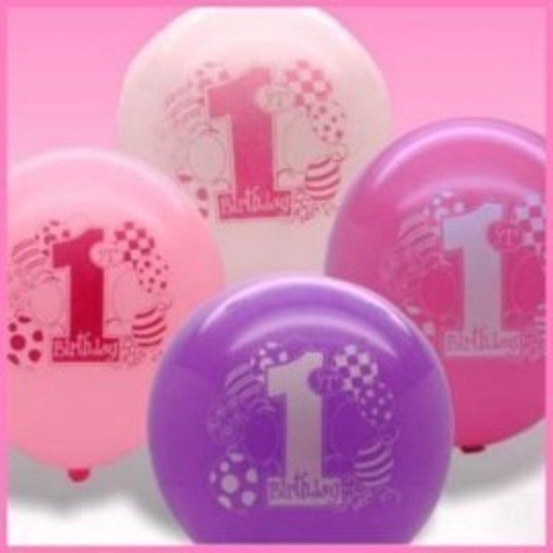 Ballonnen, 1e verjaardag thema roze ballonnen.
