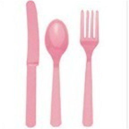 Bestek, 18 delig licht roze
