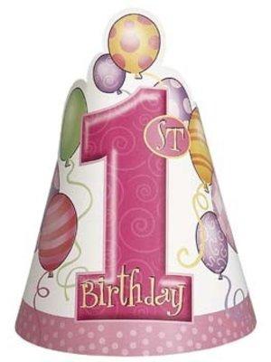 Hoedjes, 1e verjaardag, roze ballonnen