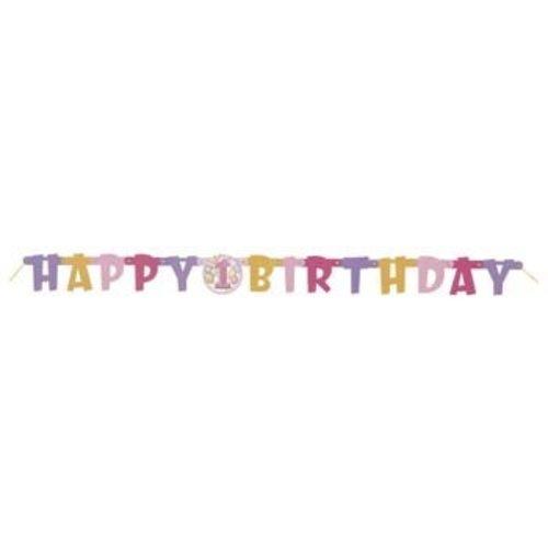 Slinger / wenslijn, 1e verjaardag, roze ballonnen Happy Birthday